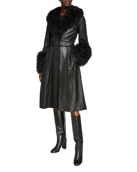 Foxy Long Lamb Leather Shearling-Trim Coat