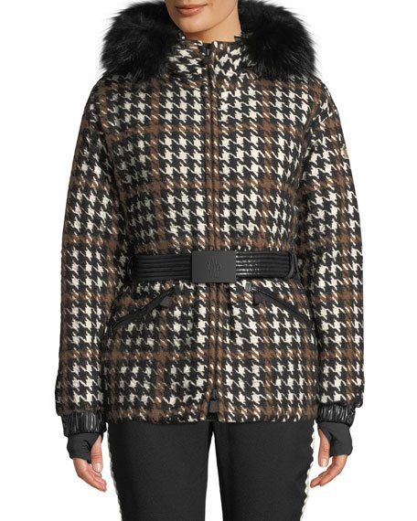 Gardena Houndstooth Coat w/ Fur