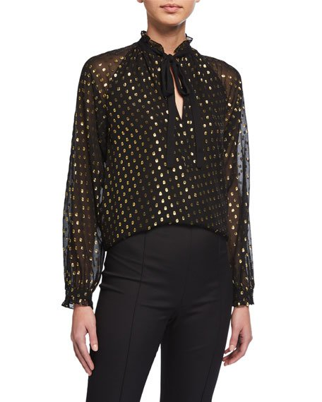 Winona Metallic Dot Silk Blouse