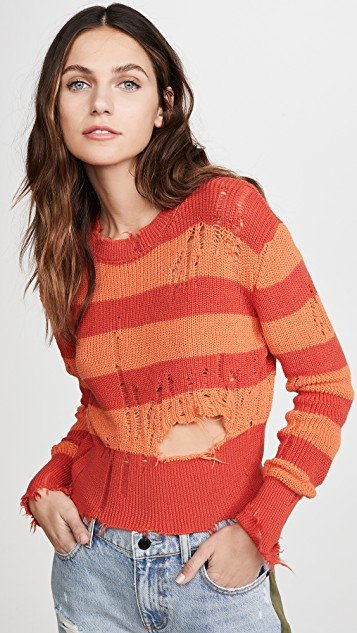 Stripes Distressed Sweater