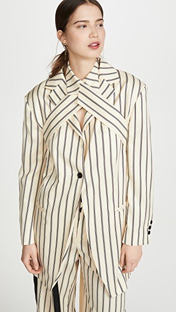 Stripes Wrap Blazer