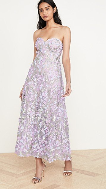 3D Embroidered Strapless Tea Length Gown