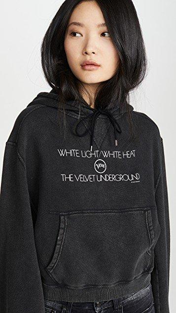 Velvet Underground White Light Cropped Hoodie
