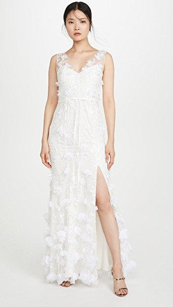 V Neck Embroidered Gown with 3D Chiffon Flowers and Front Slit