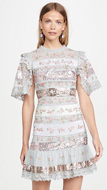 Rose Bud Stripe Mini Dress