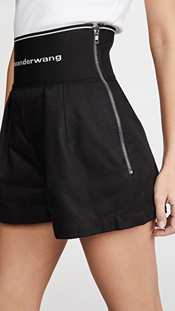 High Waisted Shorts with Exposed Zipper and Logo Elastic