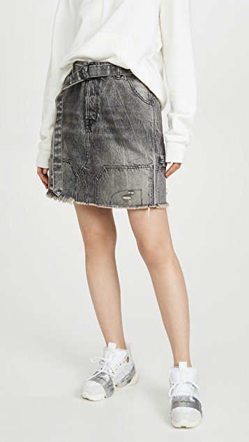 Moonwash Repaired Denim Skirt