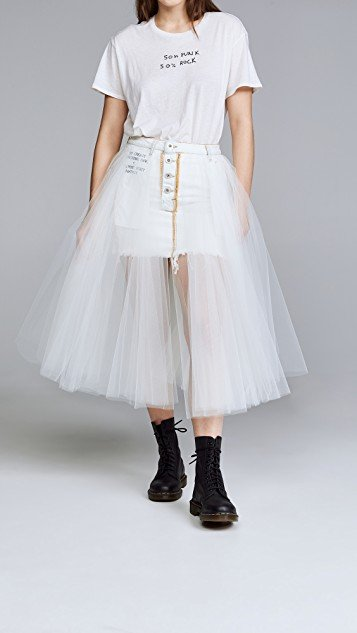 Short Washout Denim Tulle Skirt