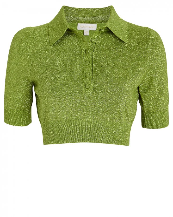 Madigan Cropped Lurex Polo Top