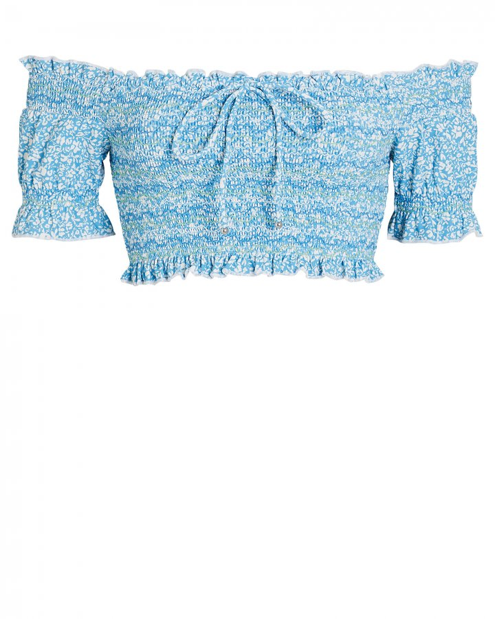 Chlée Smocked Off-the-Shoulder Bikini Top