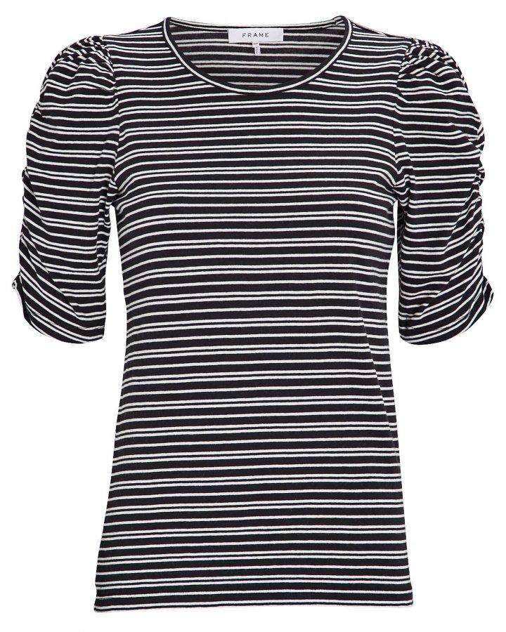 Gathered Striped Crewneck T-Shirt