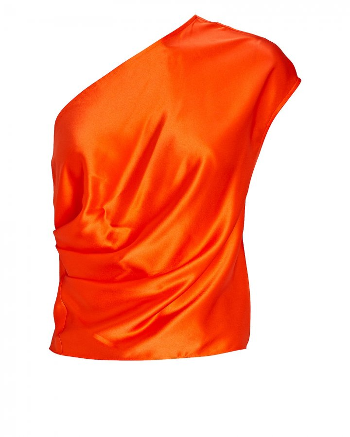 One-Shoulder Draped Silk Top