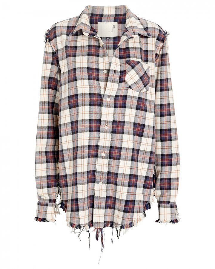 Shredded Seam Plaid Shirt