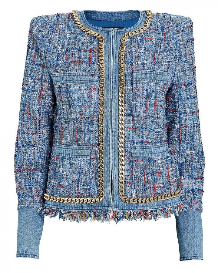 Denim-Trimmed Tweed Jacket