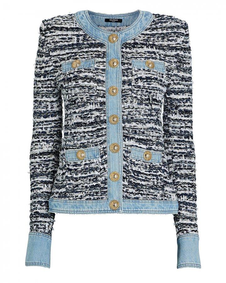 Denim-Trimmed Bouclé Jacket