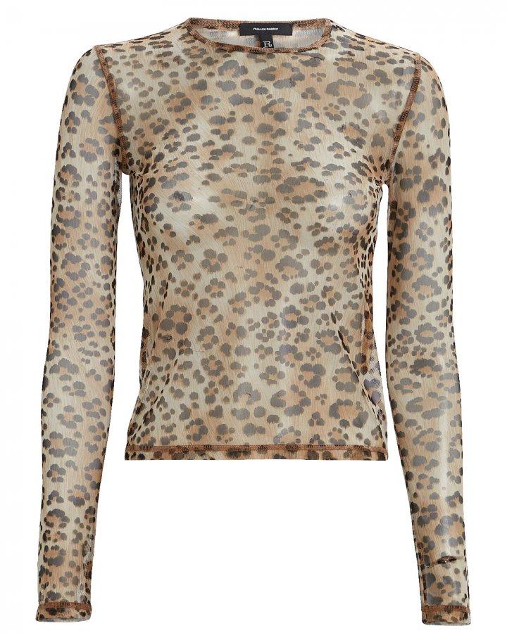 Mesh Leopard Crewneck Top