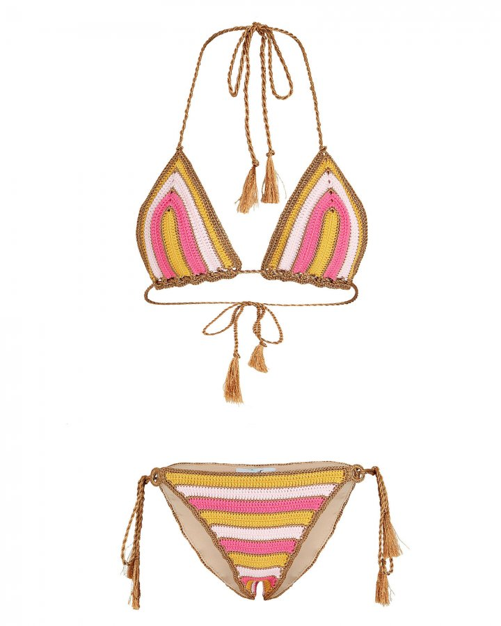 Striped Knit Crochet Bikini Set