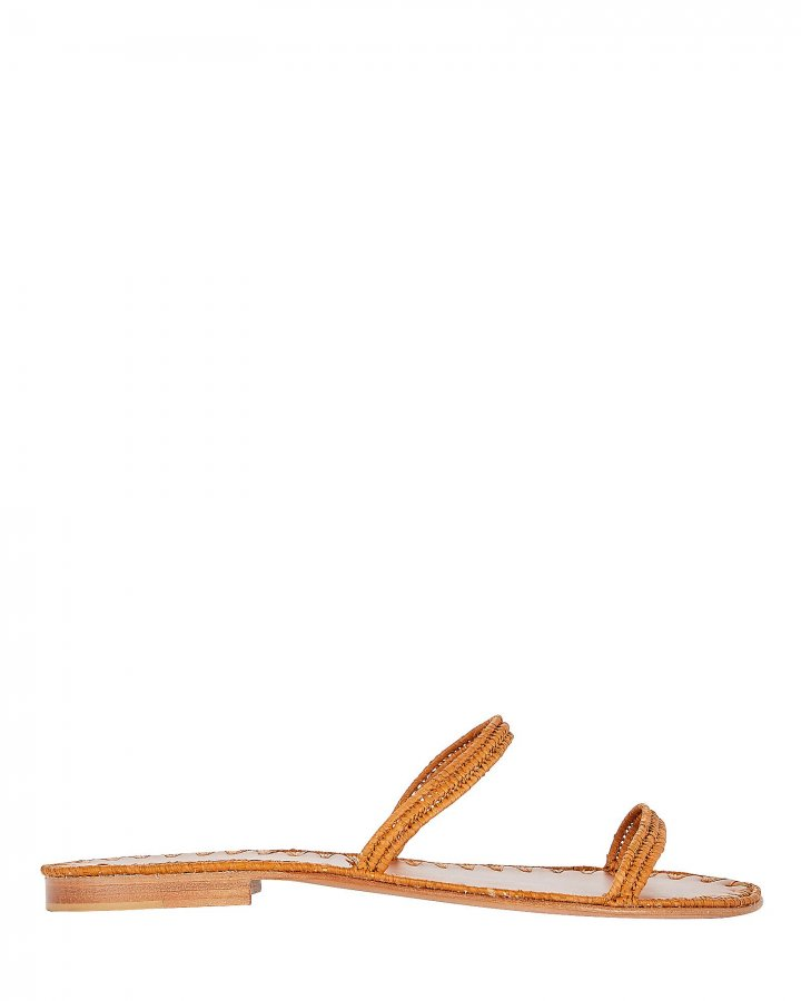 Salam Raffia Flat Slide Sandals