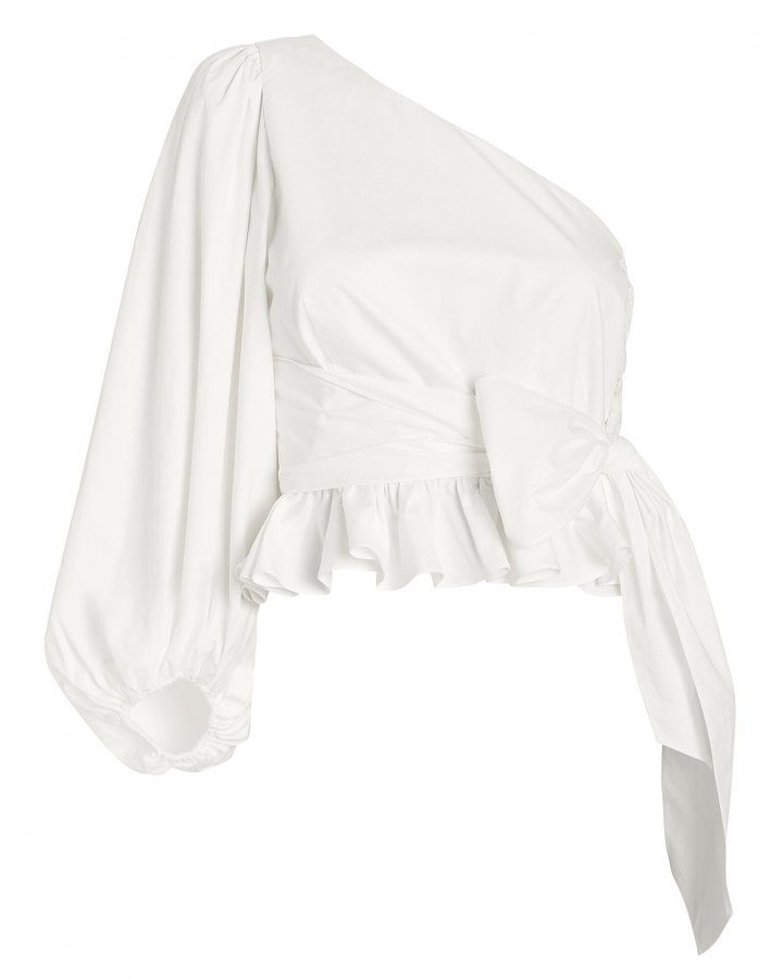 Drake One Shoulder Poplin Blouse