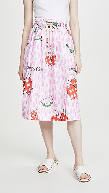 Apples & Watermelon Print Tie Waist Skirt