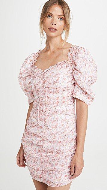 Pink Ditsy Organza Mini Dress