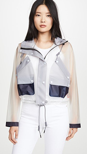 Vinyl Crop Smock Colorblocked Trench