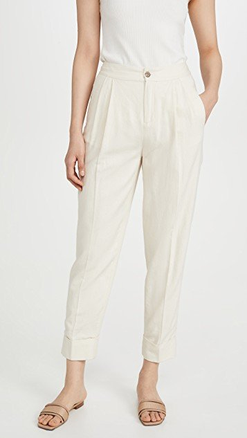 Linen Blend Tailored Pants