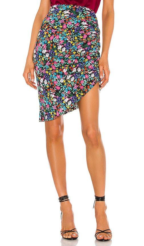 Dark Floral Ruched Midi Skirt