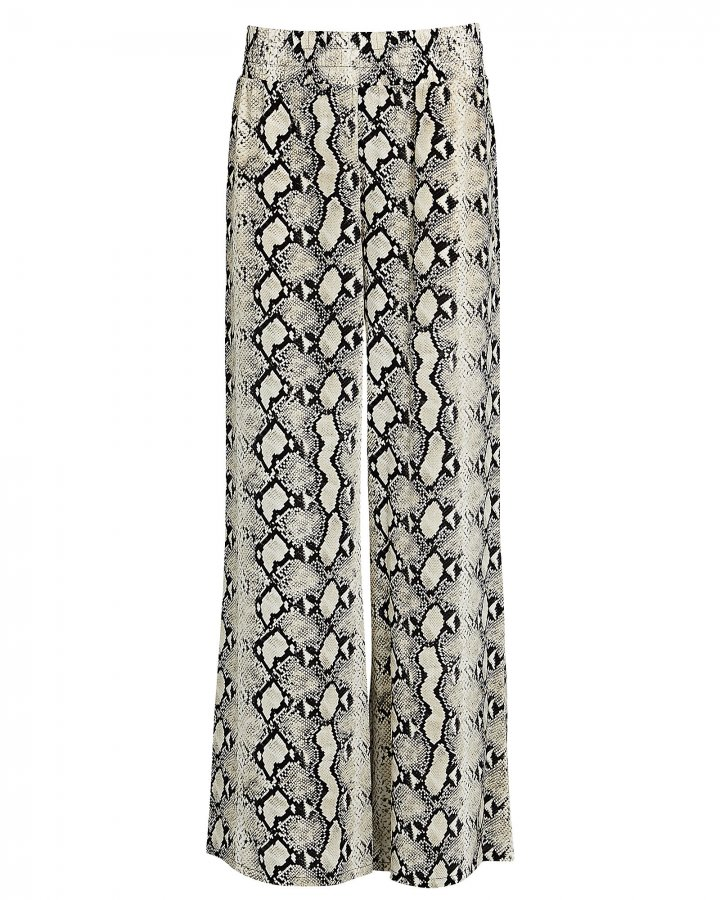 Oaklyn Python-Printed Silk Pants