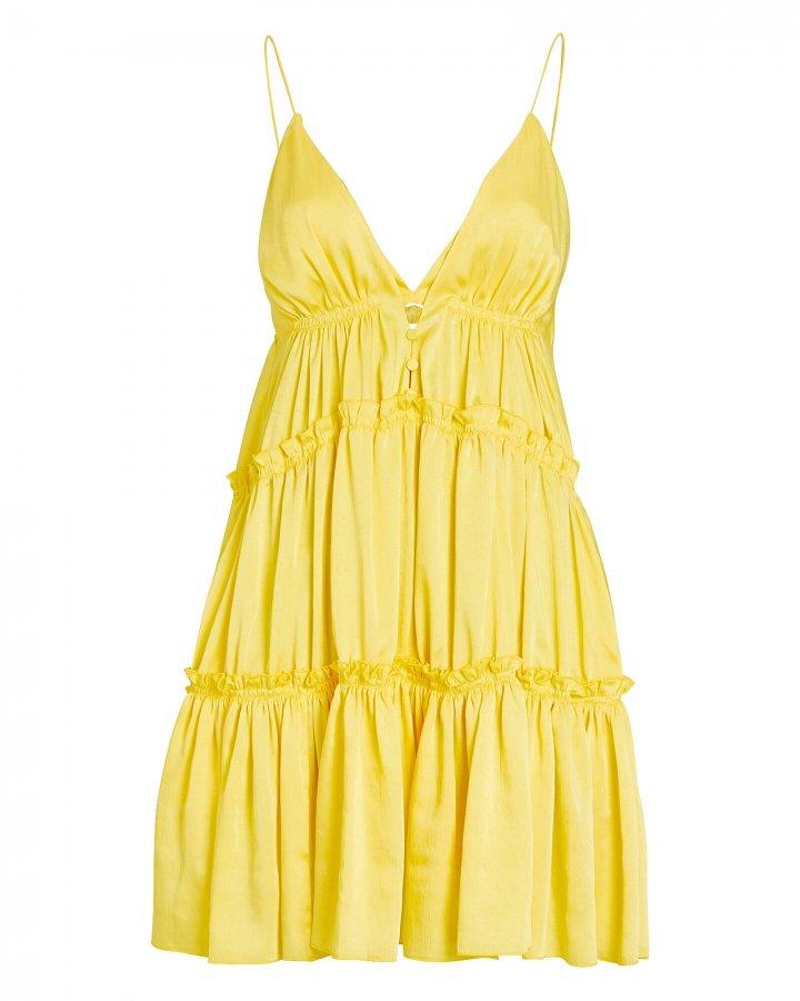 Isla Tiered Satin Mini Dress