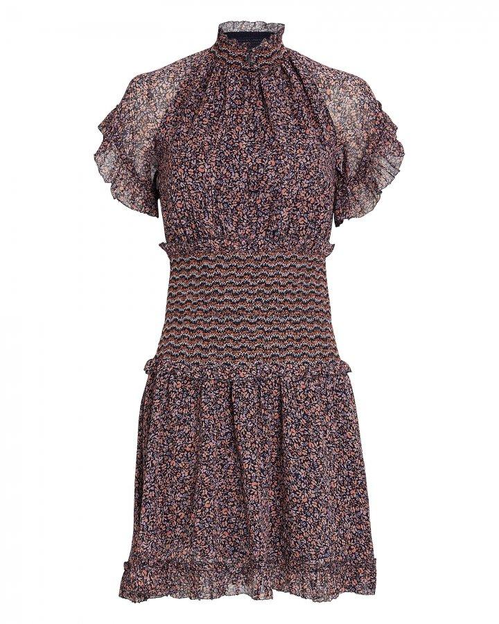 Serena Smocked Floral Chiffon Dress