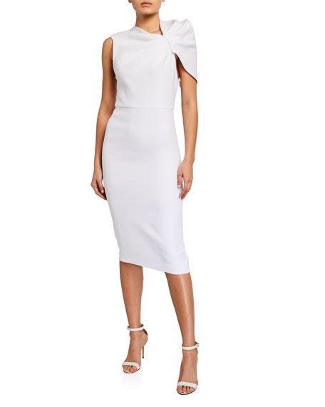 Kiro Ruffle-Shoulder Midi Dress