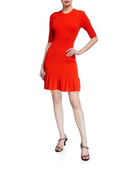 Vance 3/4-Sleeve Flounce Dress