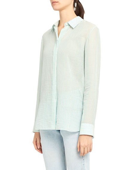 Button-Front Long-Sleeve Straight Organic Cotton Shirt