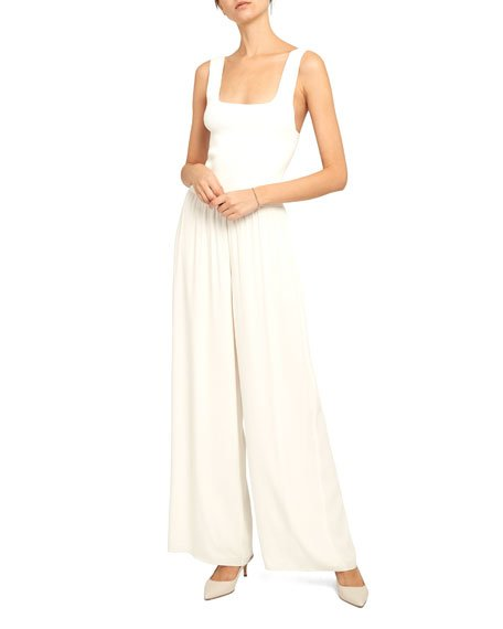 Square-Neck Ribbed Jumpsuit