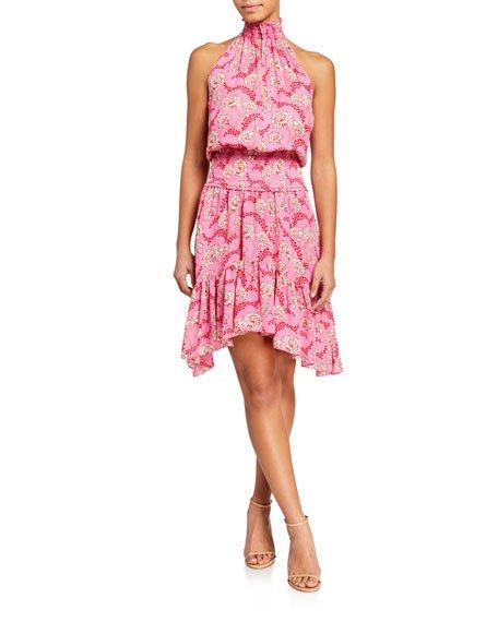 Cody Floral-Print Asymmetrical Halter Dress