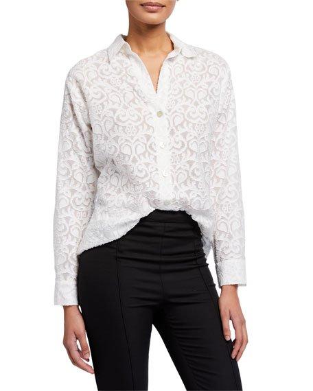 Plus Size Eyelet Long-Sleeve Big Shirt