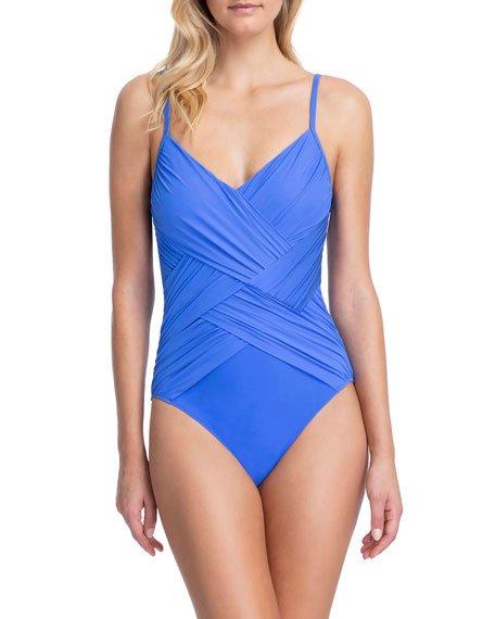 Lattice V-Neck One-Piece Swimsuit