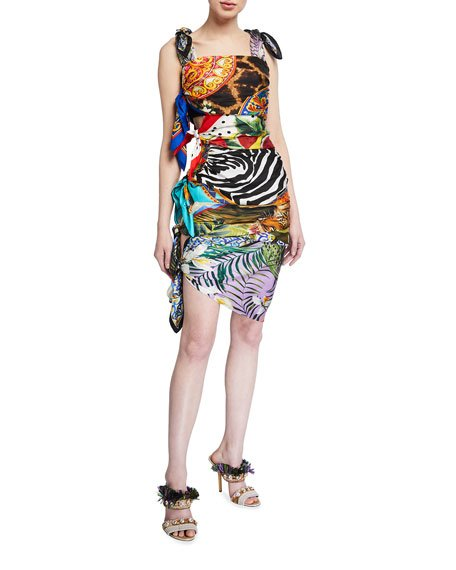 Silk Scarf-Tied Bodycon Dress