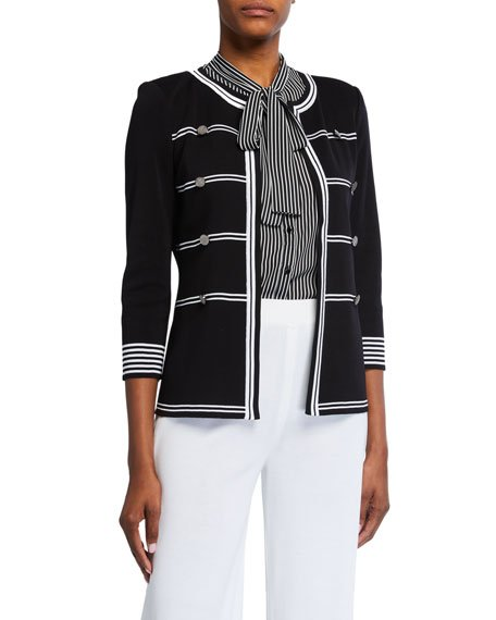 Petite Stripe Detail 3/4-Sleeve Jacket