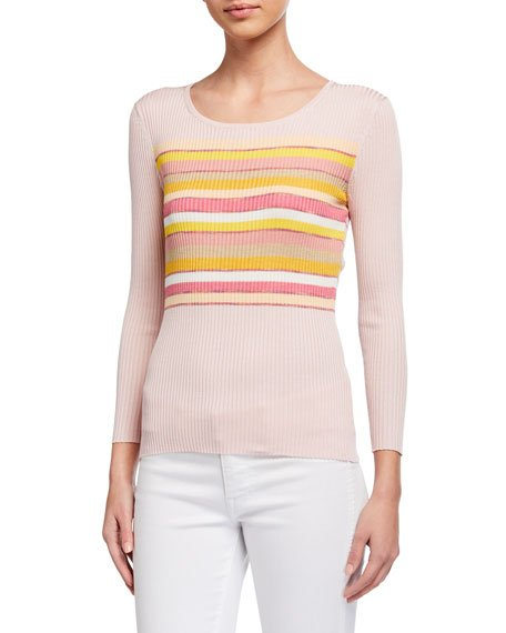 Spectrum Striped Mini Rib Sweater