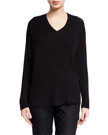 V-Neck Long-Sleeve Variegated Rib Sweater