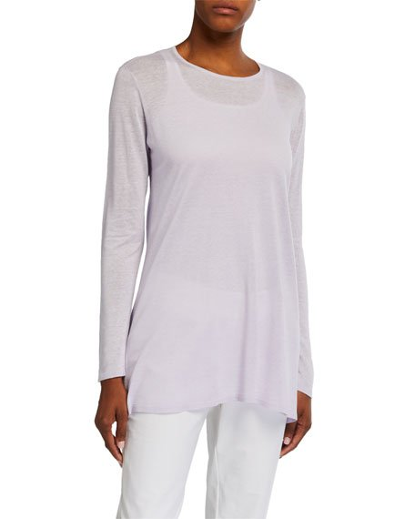 Fine Silk/Organic Linen Long-Sleeve Tunic Sweater
