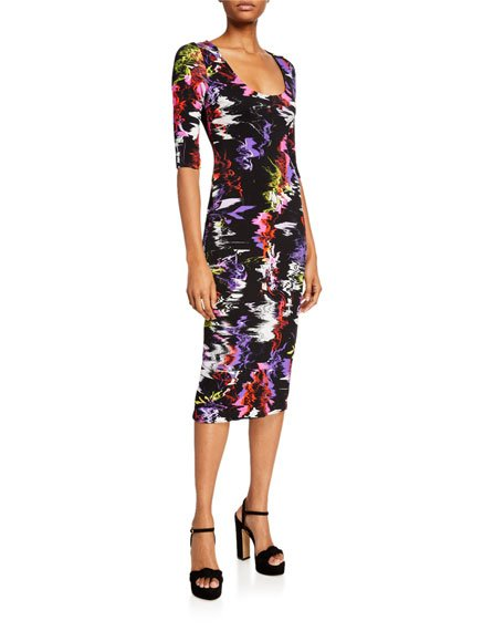 Delora Fitted Scoop-Neck Printed Dress