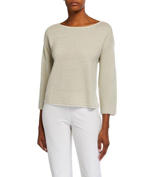 Bracelet-Sleeve Sparkle Crepe Rib Sweater
