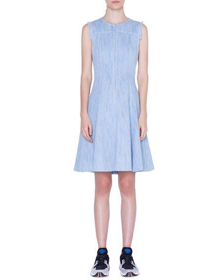 Sleeveless Denim Ring-Zip Dress