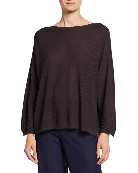 Crepe Mixed Rib Stitch Long-Sleeve Sweater