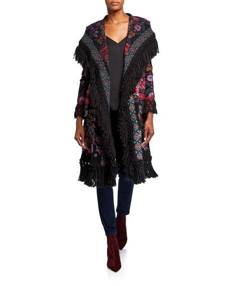 Krilinha Embroidered Fringe-Trim Hooded Jacket