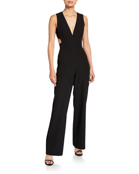 Plunge-Neck Sleeveless Crepe Jumpsuit with Cutouts