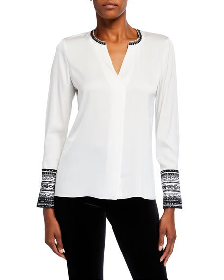 Plus Size Jona V-Neck Contrast-Trim Blouse